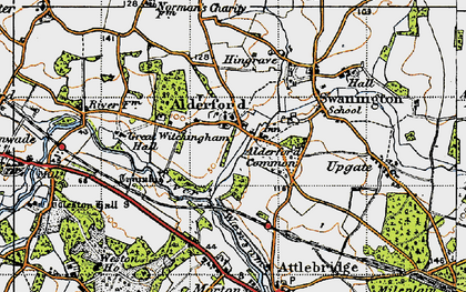 Old map of Alderford in 1945