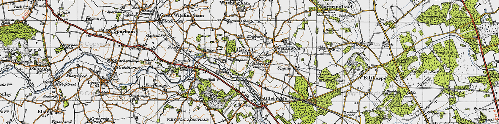 Old map of Alderford Common in 1945