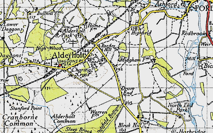 Old map of Alderholt in 1940
