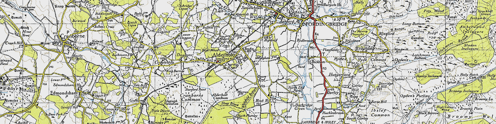 Old map of Alderholt in 1940