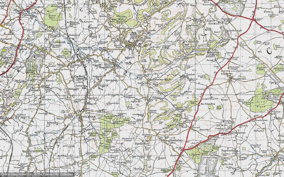 Old Map of Historic Map covering Alderley Wood in 1946