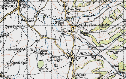 Old map of Alderley Wood in 1946