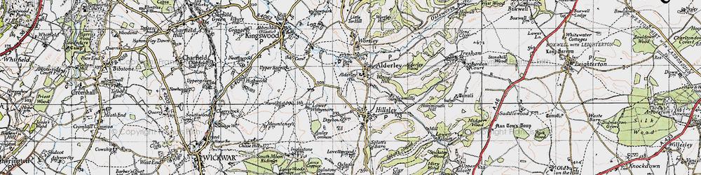 Old map of Alderley in 1946