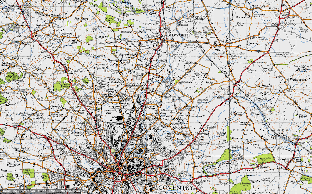 Old Map of Alderman's Green, 1946 in 1946