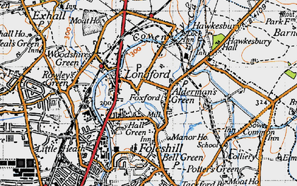 Old map of Alderman's Green in 1946