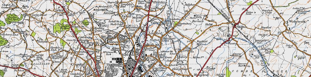 Old map of Alderman's Green in 1946
