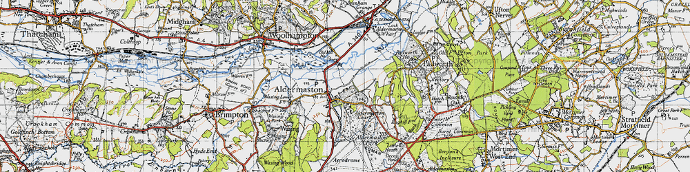 Old map of Aldermaston in 1945
