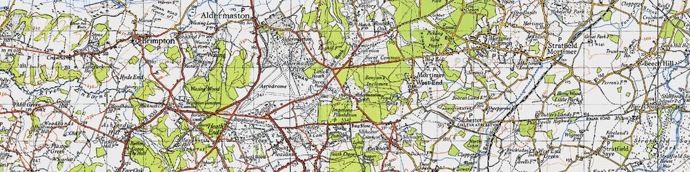 Old map of Aldermaston Soke in 1945