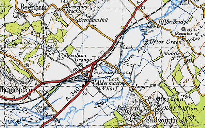 Old map of Aldermaston Wharf in 1945