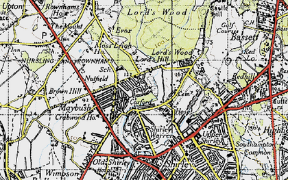 Old map of Aldermoor in 1945