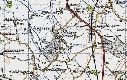 Old map of Aldersey Green in 1947