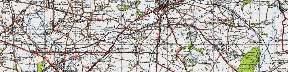 Old map of Aldershawe in 1946