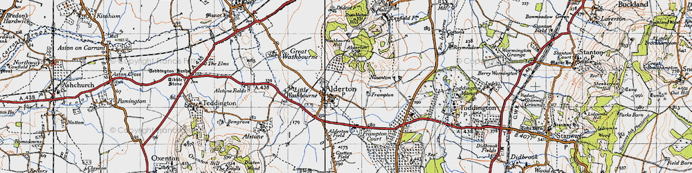 Old map of Alderton Hill in 1946