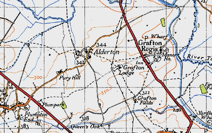 Old map of Alderton in 1946