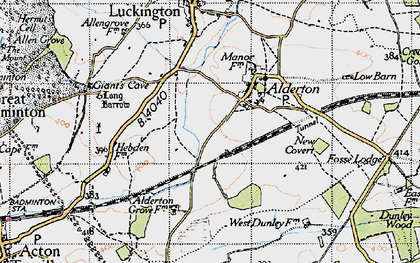 Old map of Alderton in 1946