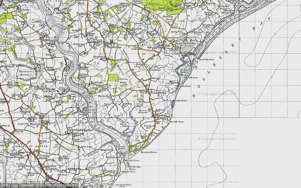 Old Map of Alderton, 1946 in 1946