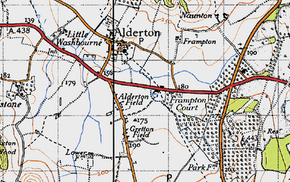 Old map of Alderton Fields in 1946