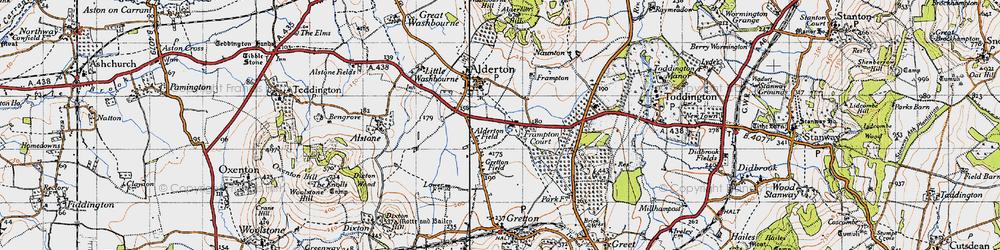 Old map of Alderton Fields in 1946