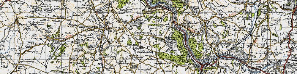 Old map of Alderwasley in 1946