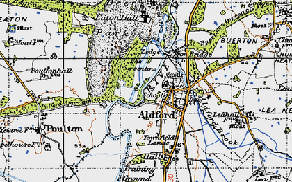 Old map of Aldford in 1947
