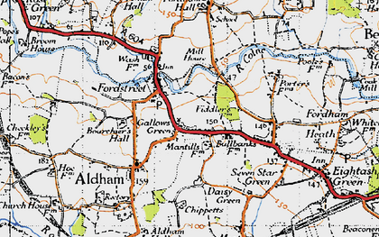 Old map of Aldham in 1945