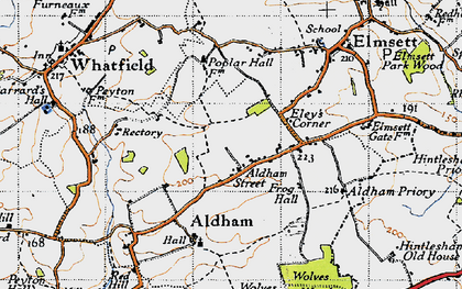 Old map of Aldham in 1946