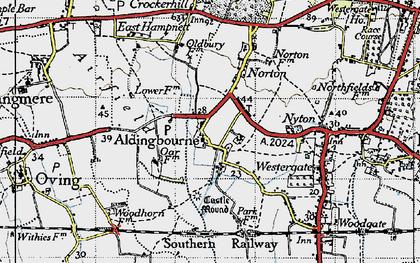 Old map of Aldingbourne in 1945
