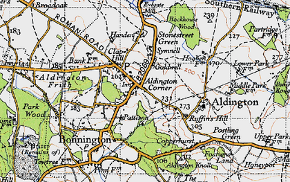 Old map of Aldington Knoll in 1940