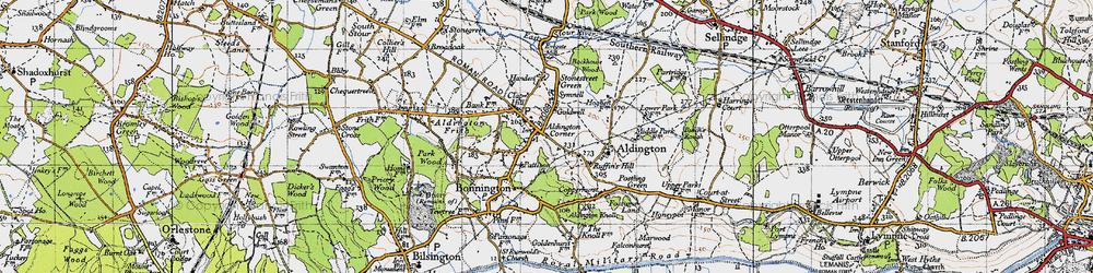 Old map of Aldington in 1940