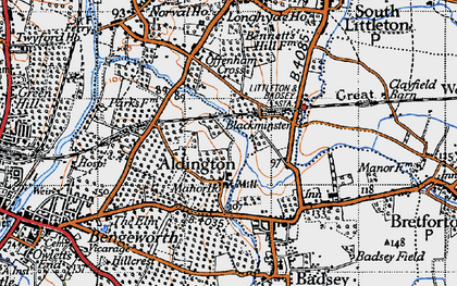 Old map of Aldington in 1946