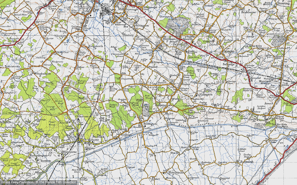 Old Map of Aldington Frith, 1940 in 1940