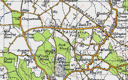 Old map of Aldington Frith in 1940