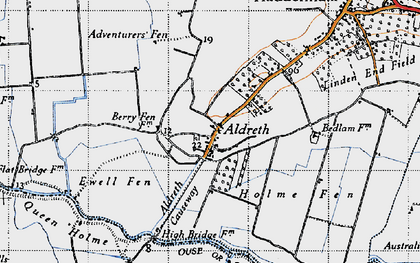 Old map of Aldreth in 1946