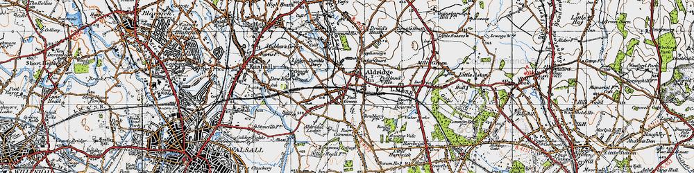 Old map of Aldridge in 1946