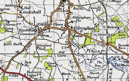 Old map of Aldringham in 1946