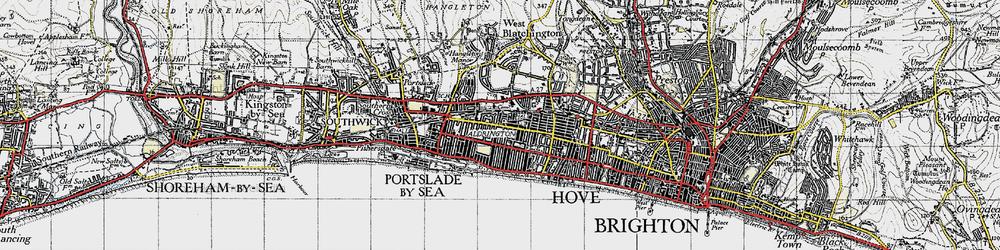 Old map of Aldrington in 1940