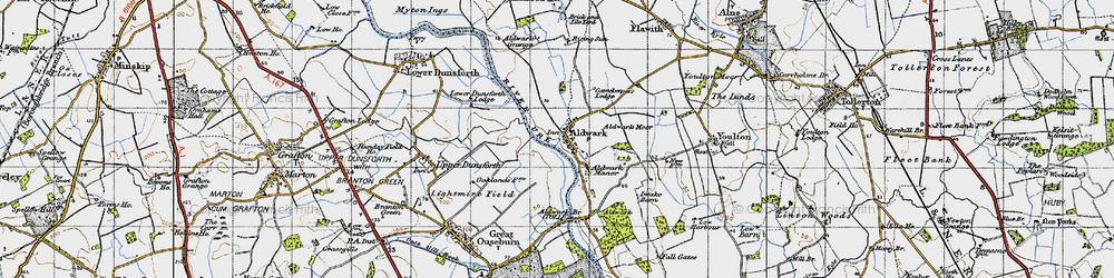 Old map of Aldwark Moor in 1947