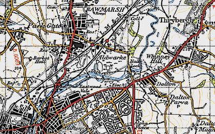 Old map of Aldwarke in 1947