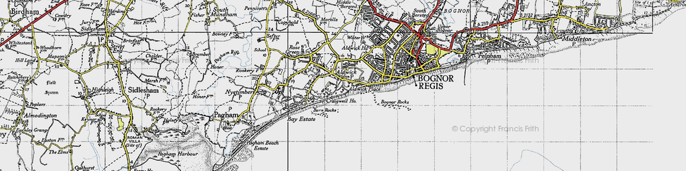 Old map of Aldwick in 1945