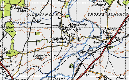 Old map of Aldwincle in 1946