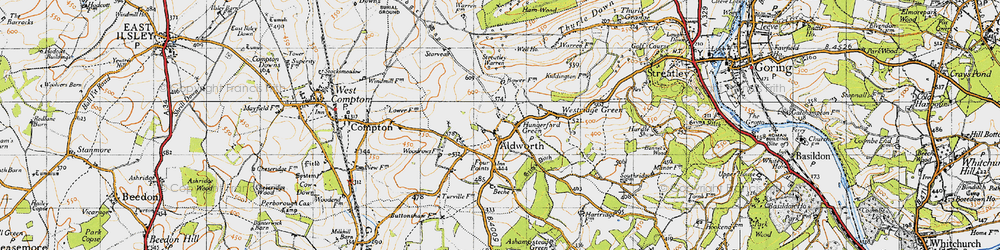 Old map of Aldworth in 1947