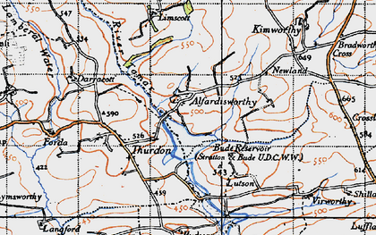 Old map of Alfardisworthy in 1946