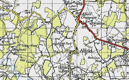 Old map of Alfold in 1940