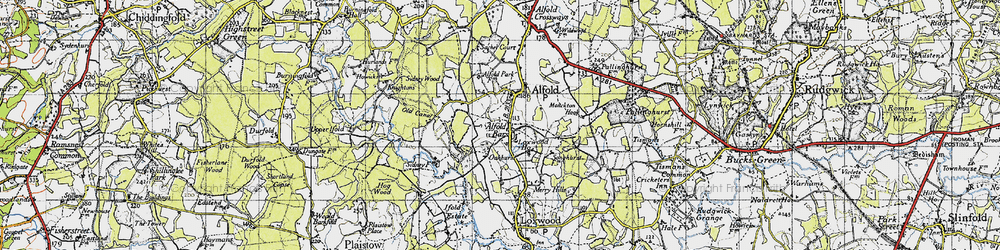 Old map of Alfold Bars in 1940