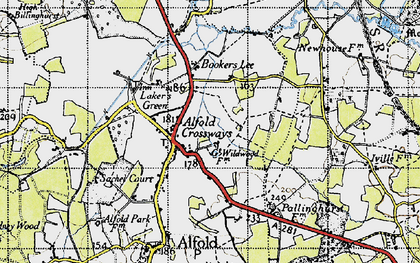 Old map of Alfold Crossways in 1940
