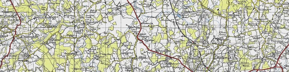 Old map of Alfold Crossways in 1940