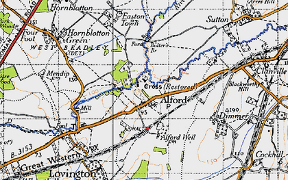 Old map of Alford in 1945