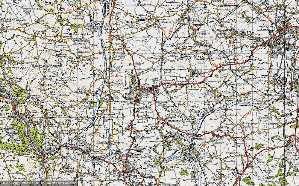 Old Map of Historic Map covering Alfreton Brook in 1947