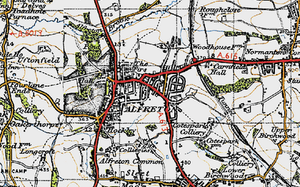 Old map of Alfreton Brook in 1947