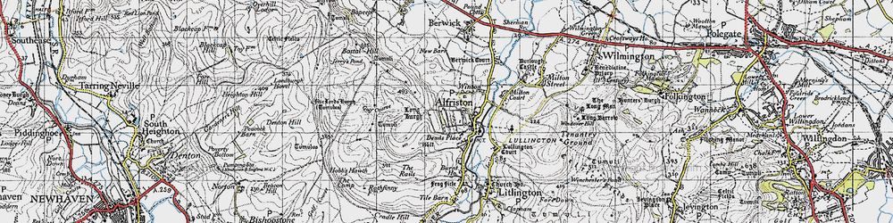 Old map of Alfriston in 1940